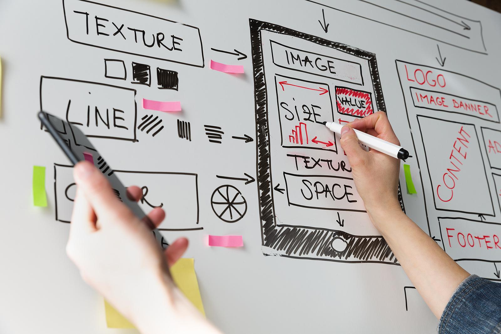 Website designer drawing website template on white board.